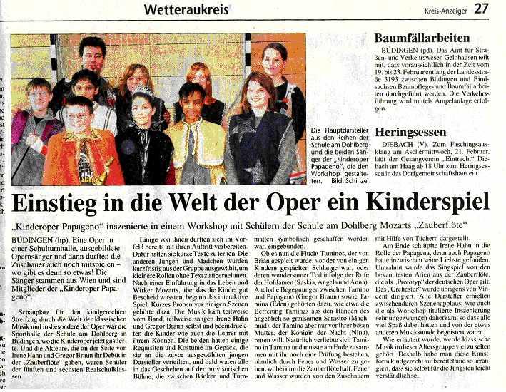 Pressebericht zur Kinderoper Papageno im Kreisanzeiger Wetteraukreis