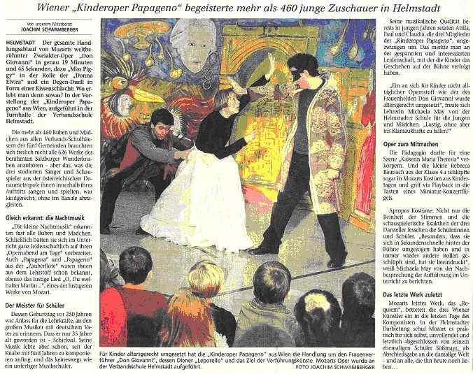 Pressebericht zur Wiener Kinderoper