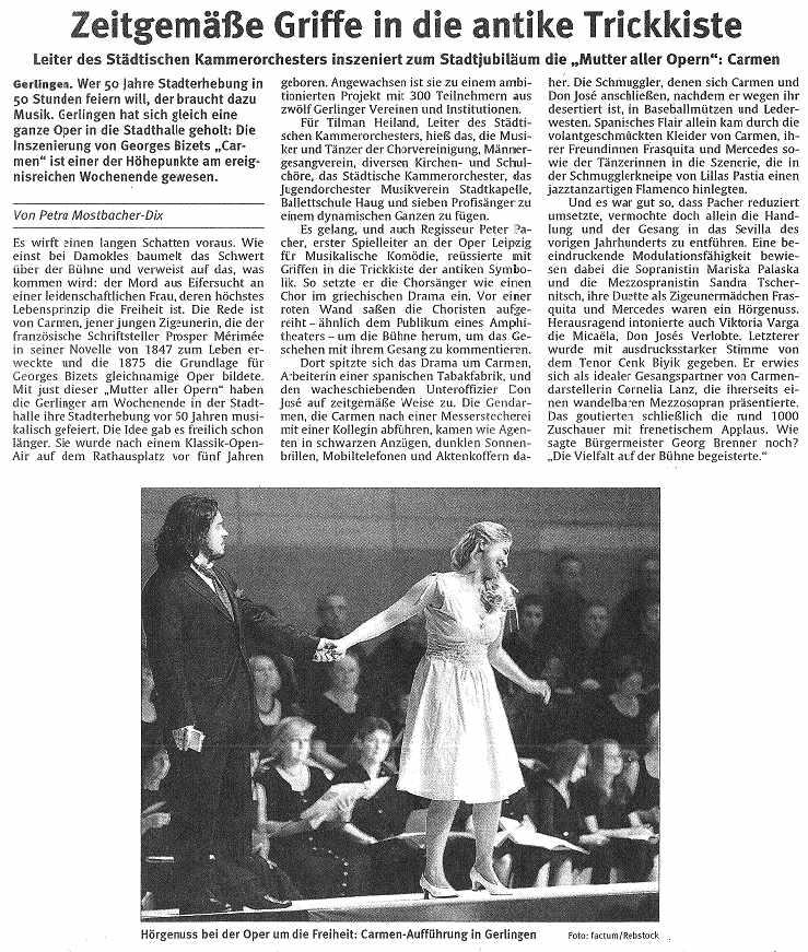 Pressebericht Stuttgarter Zeitung - Carmen Oper